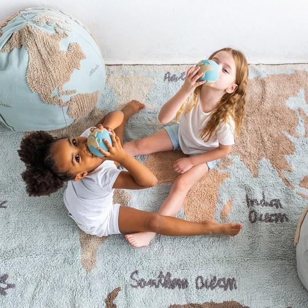 Dywan bawełniany World Map vintage do pokoju dla dzieci