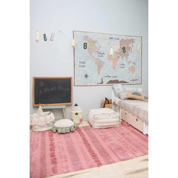 Dywan bawełniany World Map vintage - dywan z motywem świata