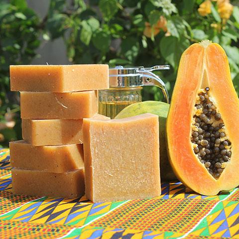 Mydło afrykańskie z dodatkiem oleju z baobabu i papai
