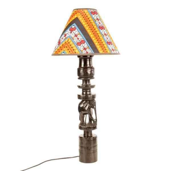 Hebanowa lampa z afrykańskimi zwierzętami afrykańskie dekoracje do domu