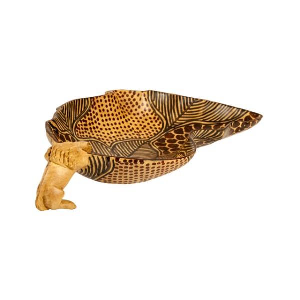 Kolorowa miseczka z drewna w kształcie Afryki z lwem