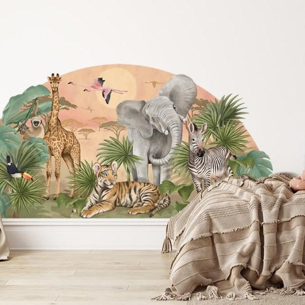 Kolorowa naklejka na ścianę - safari ze zwierzętami Afryki