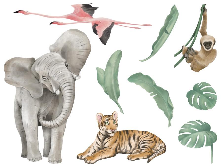 Kolorowa naklejka z afrykańskimi zwierzętami na ścianę - dekoracja ścienna
