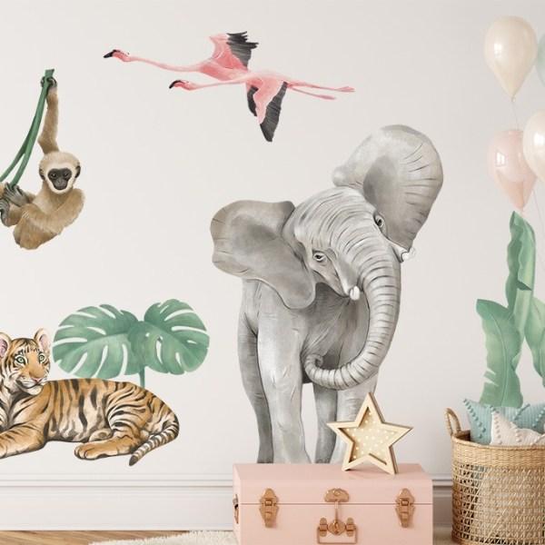 Kolorowa naklejka z afrykańskimi zwierzętami na ścianę - motyw afrykański