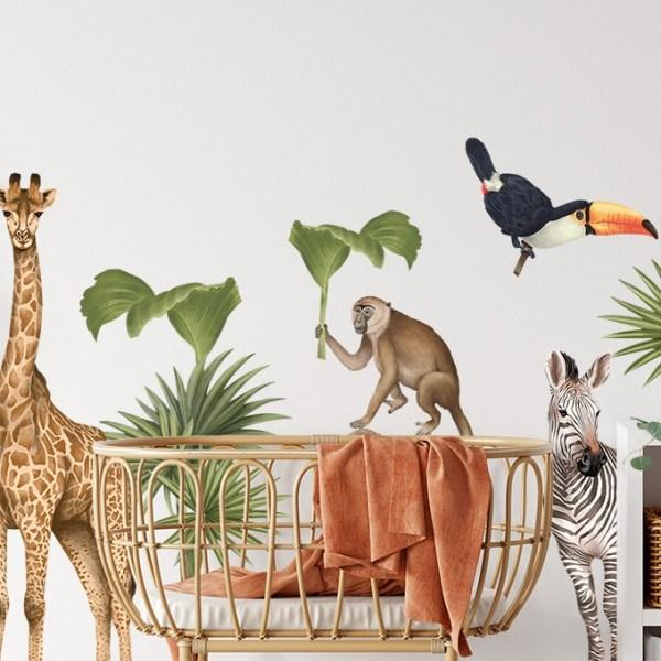 Naklejka na ścianę w dziecięcym pokoiku - zwierzątka afrykańskie - motyw safari