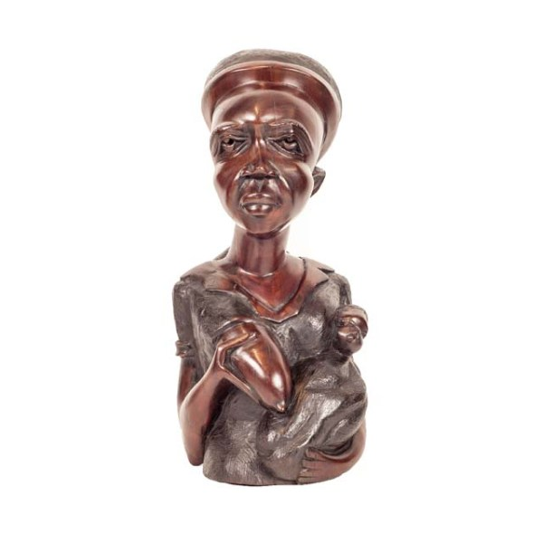 Piękna drewniana rzeźba kobiety z Afryki