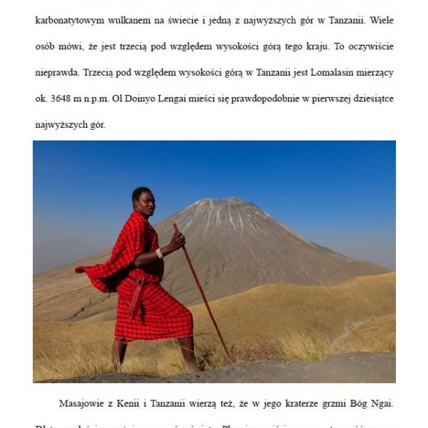 Poradnik przed podróżą do Afryki - fragment o wulkanie Ol Doinyo Lengai pdf