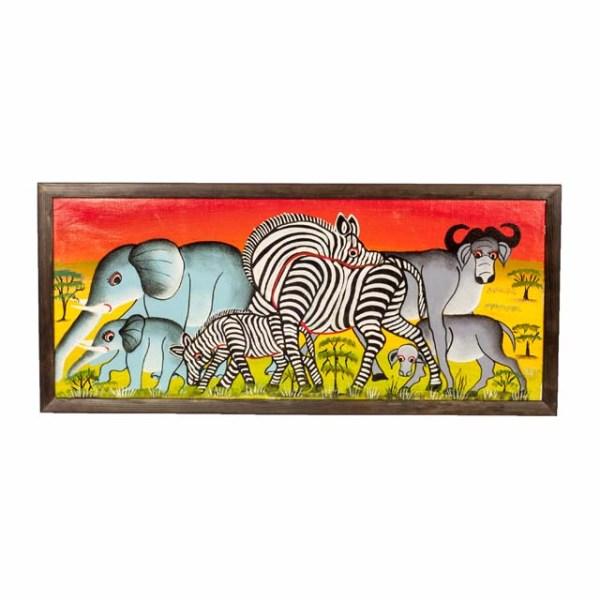 Obraz Tingatinga z afrykańskimi zwierzętami
