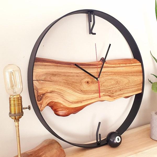 Zegar ścienny w afrykańskim stylu Loft kolor orzech