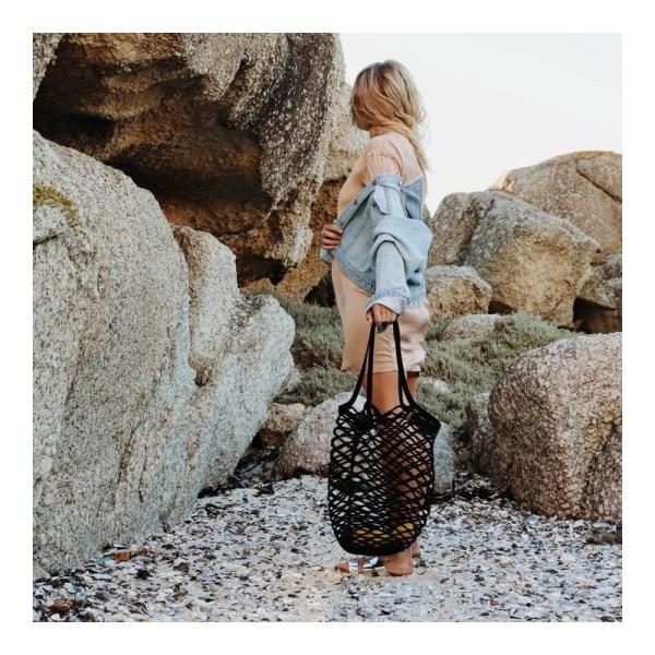 Czarna siatkowa bawełniana torba na ramię z Afryki