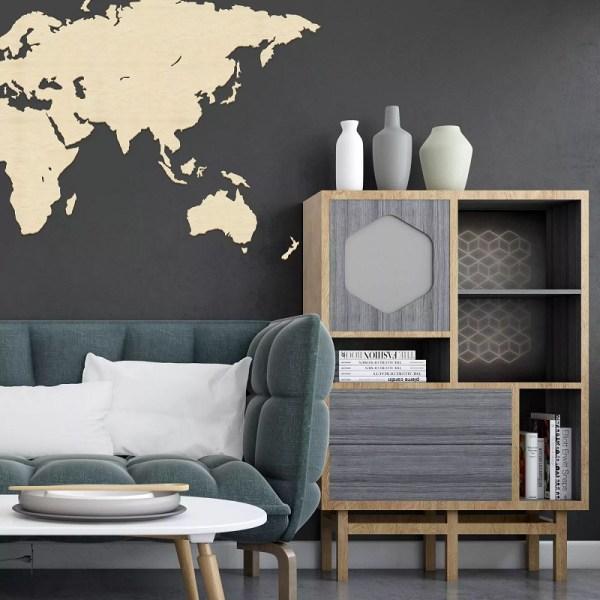 Drewniana mapa świata na ścianę - bez granic - naturalny