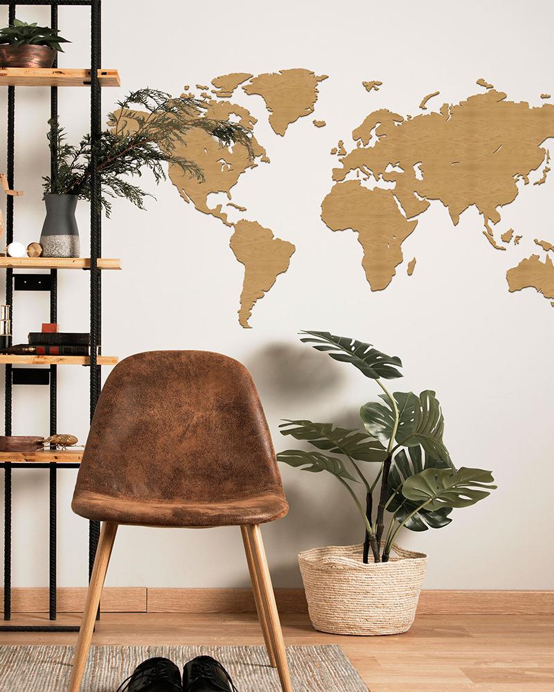 Drewniana mapa świata na ścianę - dąb - bez granic