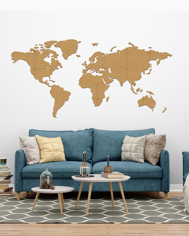 Drewniana mapa świata na ścianę - kolor dąb