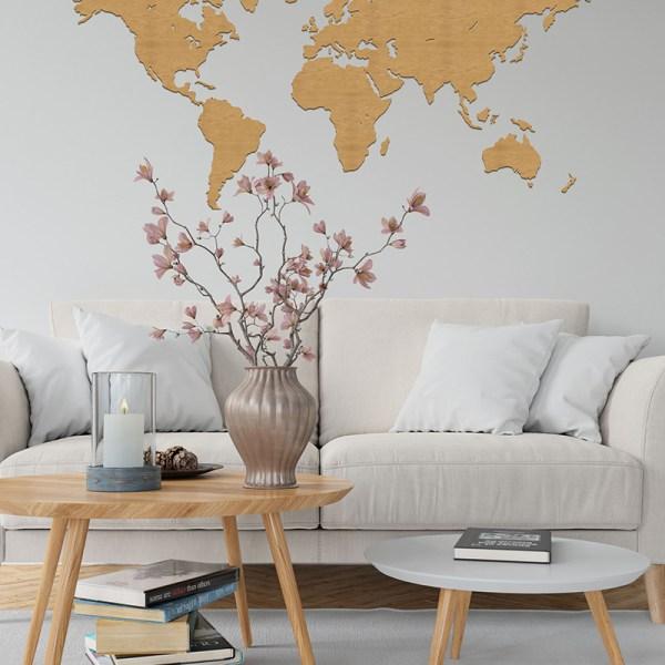 Drewniana mapa świata na ścianę