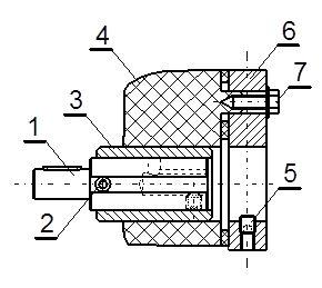 Rys. 5 Modyfikacja sposobu montażu wskaźnika serii DD: (1) wałek redukcyjny, (2) wkręt zabezpieczający wskaźnika, (3) tuleja wskaźnika, (4) wskaźnik, (5) wkręt zabezpieczający płytę montażową, (6) płyta montażowa, (7) wkręt mocujący wskaźnik do płyty.