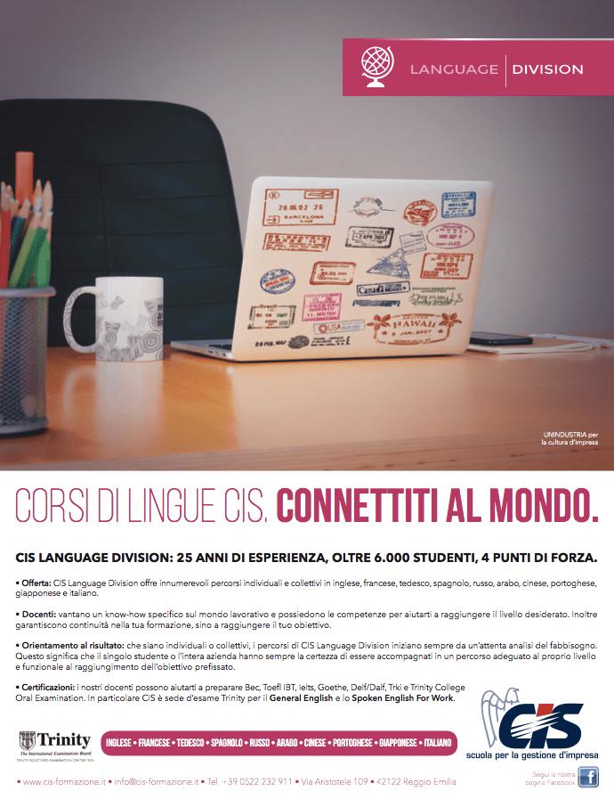 Campagna stampa per CIS Reggio Emilia: Cartolina per Language Division