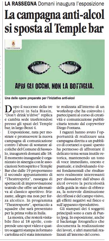 Don't drink'n'drive - Rassegna stampa del corso tenuto dal copywriter Diego Fontana