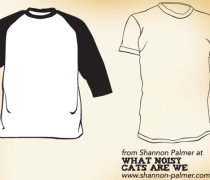 Raglan and short sleeve t-shirt template designs