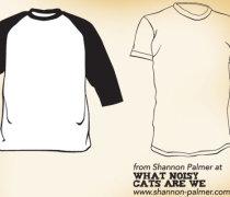 Raglan and short sleeve t-shirt template designs