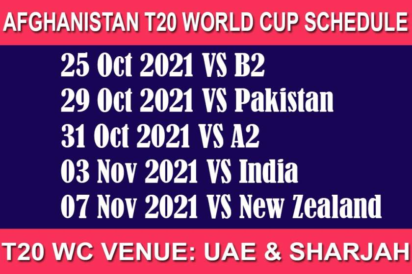 Afghanistan T20 World Cup 2021 Schedule