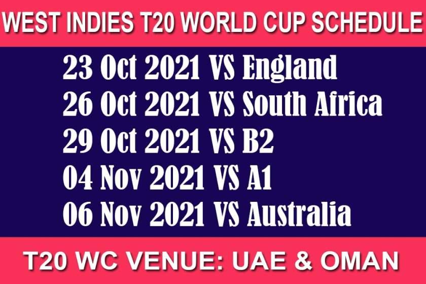 West Indies T20 World Cup 2021 Schedule