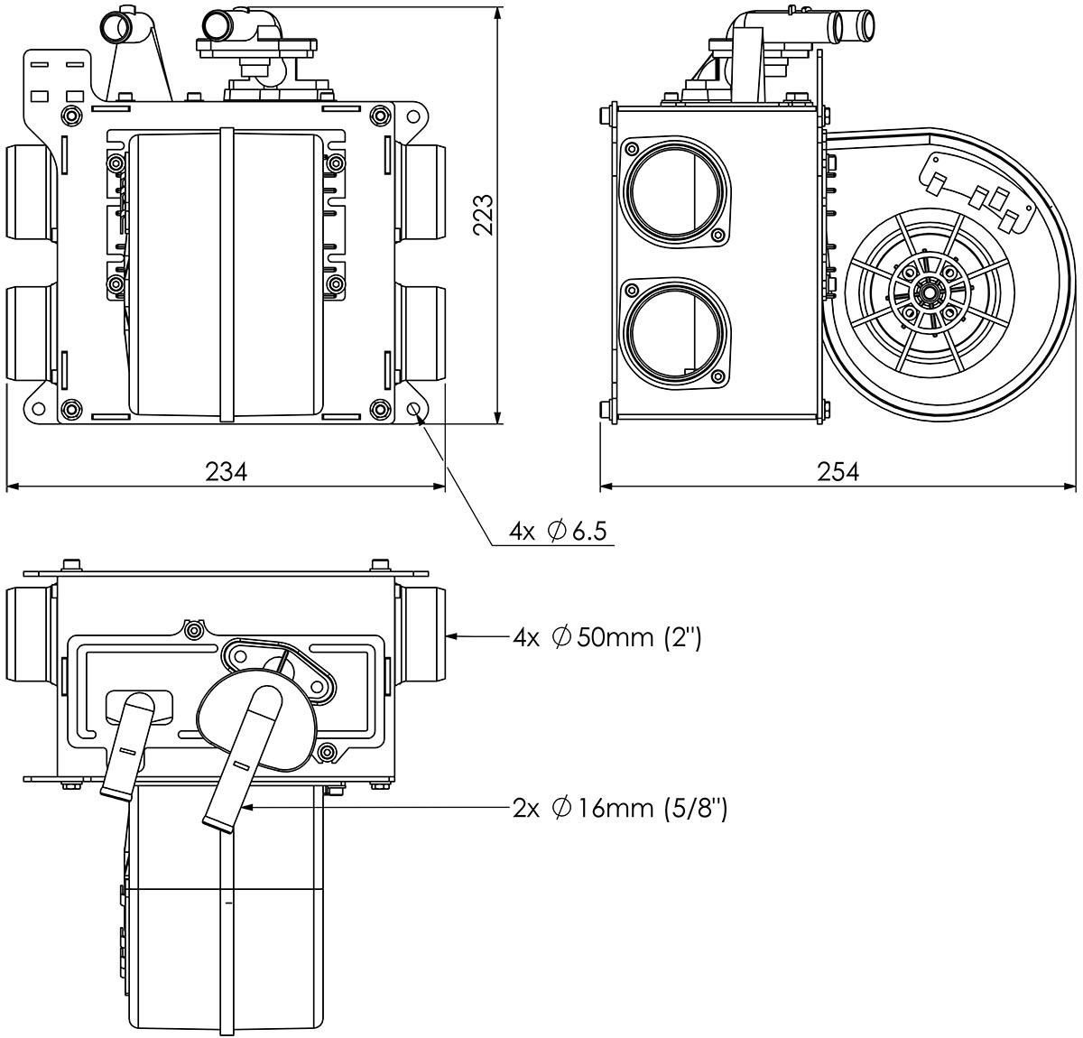 12v 5kw Midi Heater Side Vents W Valve