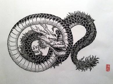 Dragon. Impression au baren sur papier washi. 12ex.