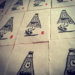 Kasa Obake. Impression au baren sur papier washi. 30 ex.