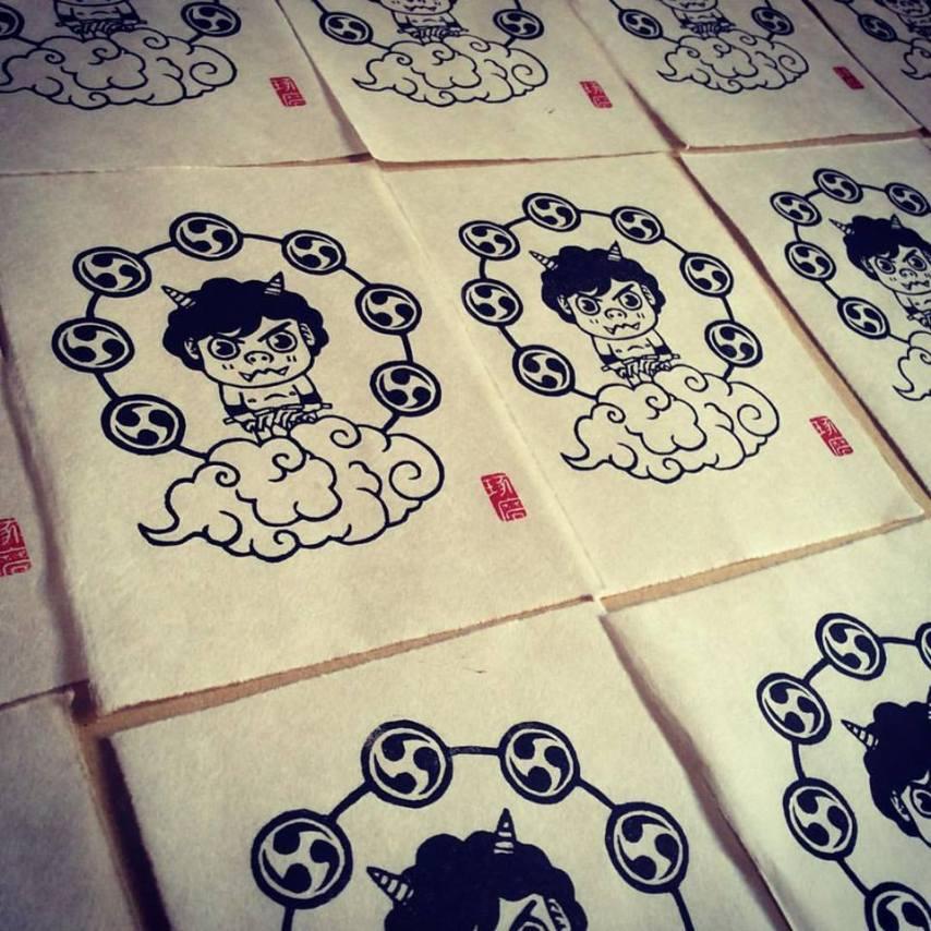Raijin. Impression au baren sur papier washi. 30 ex.