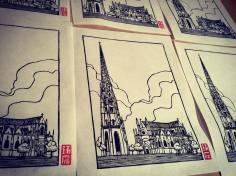 Basilique St Michel. Impression au baren sur papier washi. 20ex.