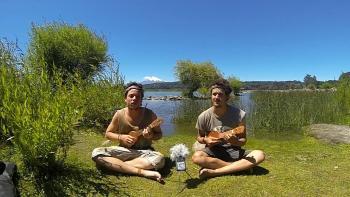 Joueur ukulele voyage