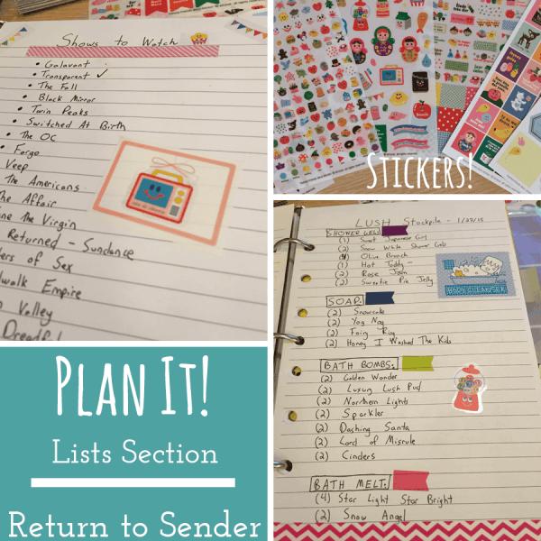 Plan It - Lists