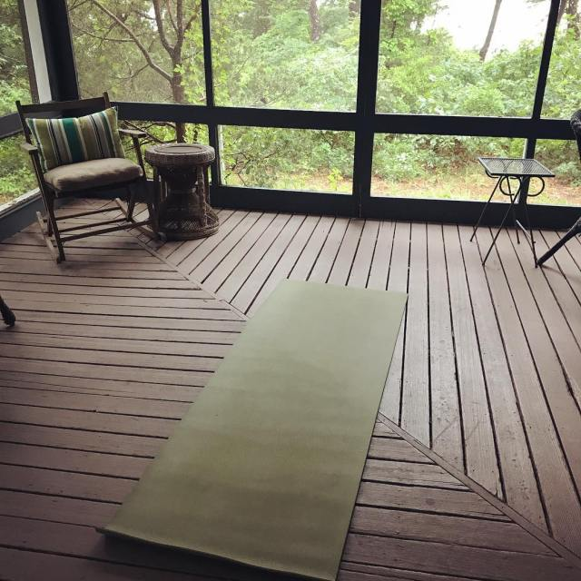 Rain canceled beach yoga so porch yoga with an oceanhellip