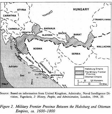 Mapa de la frontera entre el Imperio Habsburgo y el Otomano