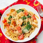 Shrimp, Spinach, and Tomato Fettuccine with Garlic Butter Sauce