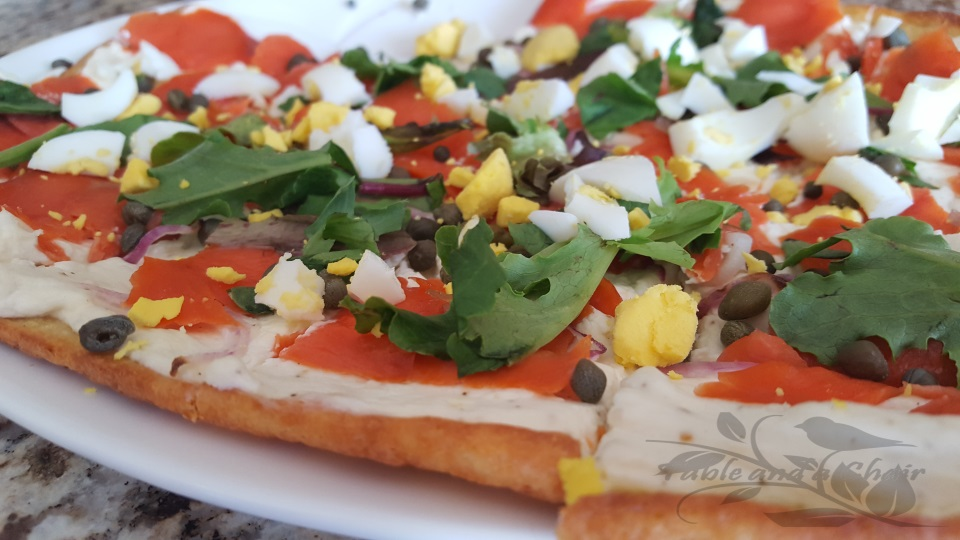 "Smoked Salmon Flatbread "" Low Carb Version"""