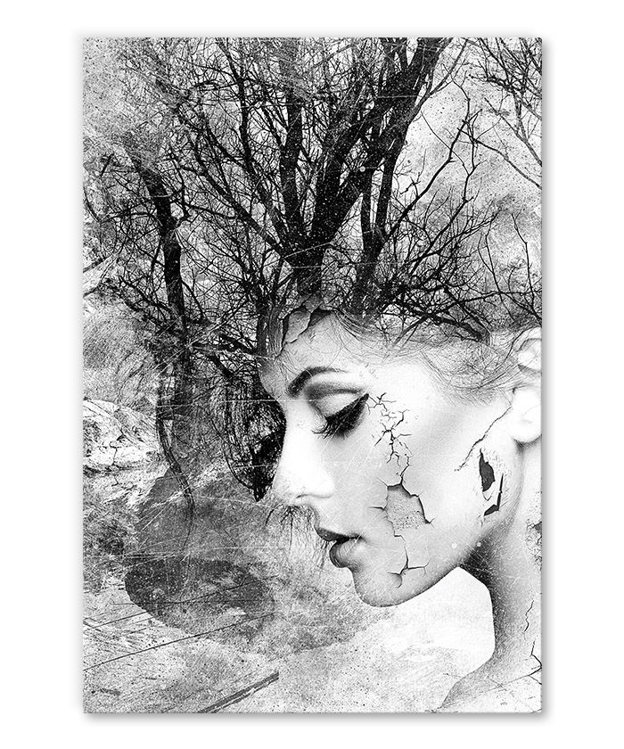 Tableau Deco Portrait Femme Branche Noir Et Blanc Tableau Deco