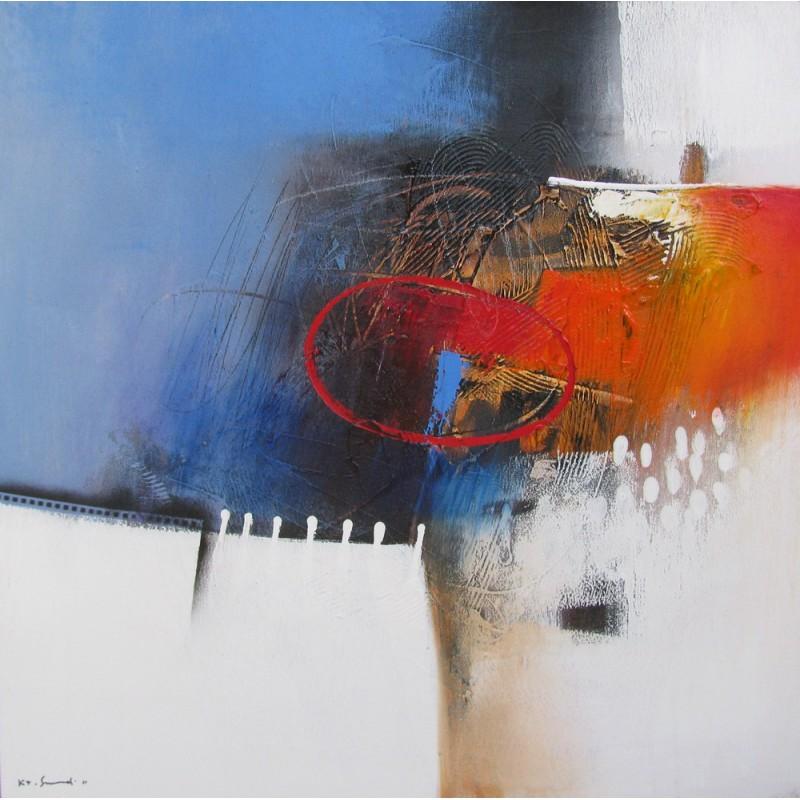 tableau abstrait contemporain bleu blanc 80x80 cm sumadi