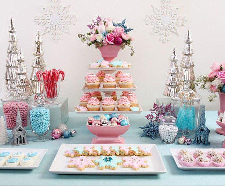 Vintage Christmas dessert table idea