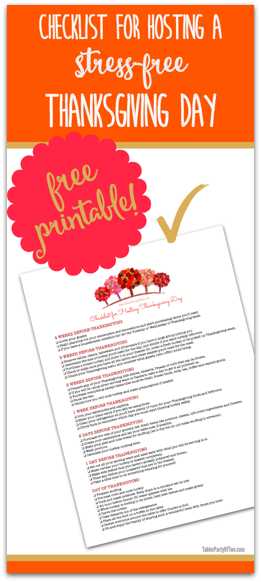 This checklist covers EVERYTHING you need to know to successfully host a STRESS-FREE Thanksgiving Day! Free printable for you to download. TablerPartyofTwo.com