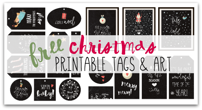 Super cute, FREE Christmas Printable Gift Tags and Frameable Artwork!