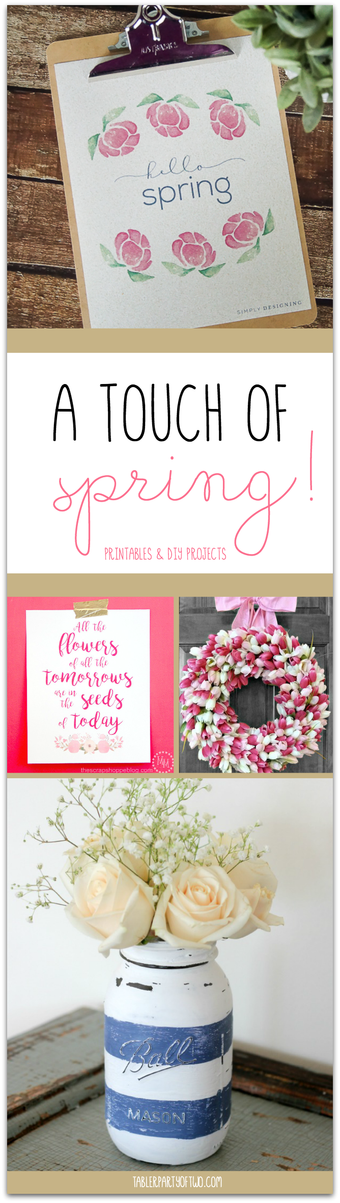 A touch of spring! Printables and DIY projects to bring the outdoors in Tabler Party Of Two TablerPartyOfTwo.com