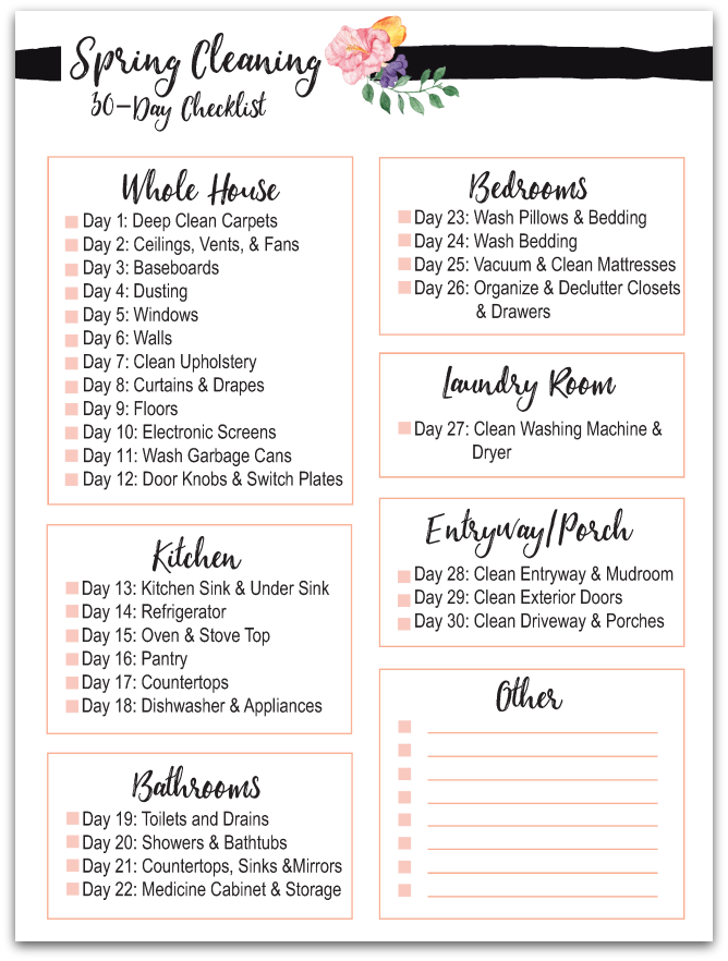 Spring Cleaning Checklist | 30 Day Spring Cleaning Checklist Free Printable