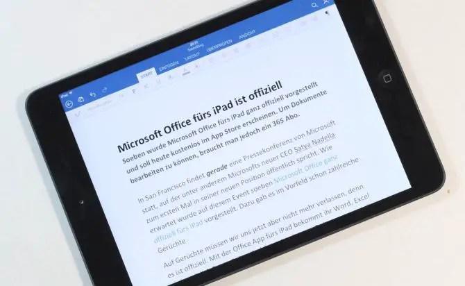 Word auf Apples iPad