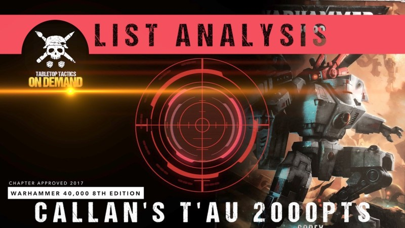 Warhammer 40,000 List Analysis: Callan's T'au 2000pts