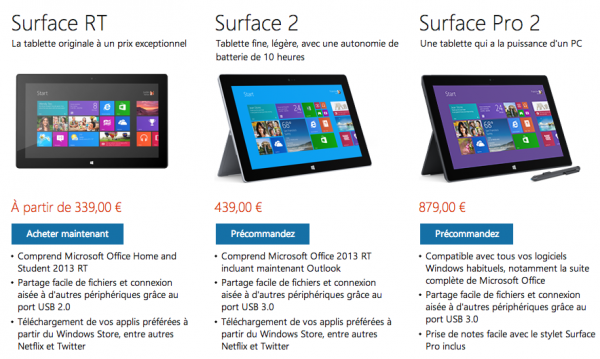 les tablettes surface 2 et surface pro 2 disponibles sur. Black Bedroom Furniture Sets. Home Design Ideas