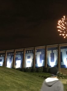 Fireworks of the Big Blue sign on Griswold