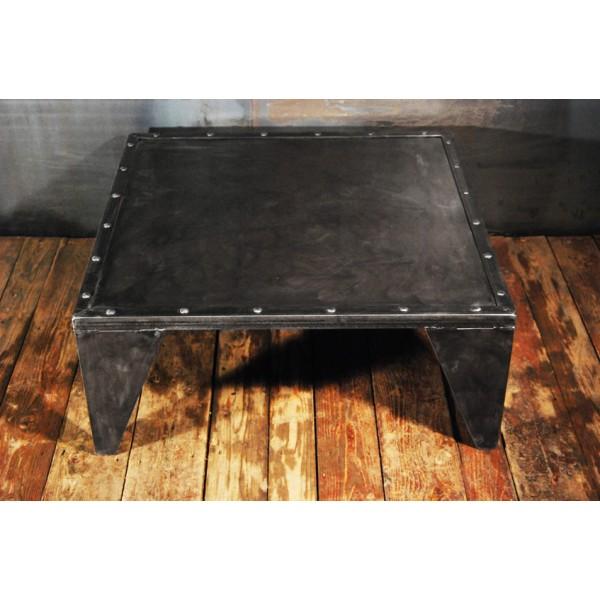 Table Basse Industrielles Design Acier Rivete Rivets