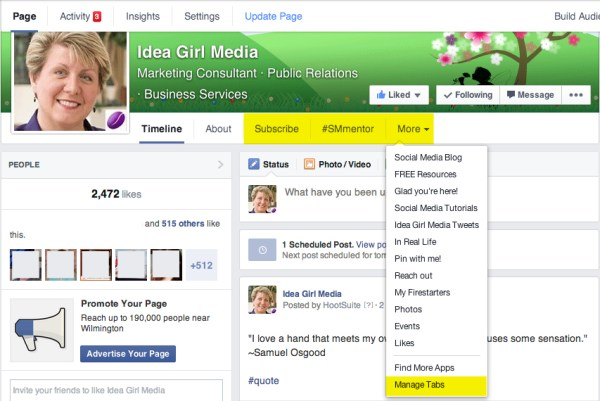 Keri Jaehnig of Idea Girl Media explains the Tabs functions for TabSite on the new Facebook Page layout 2014
