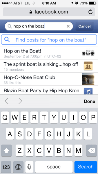 Facebook Mobile Search